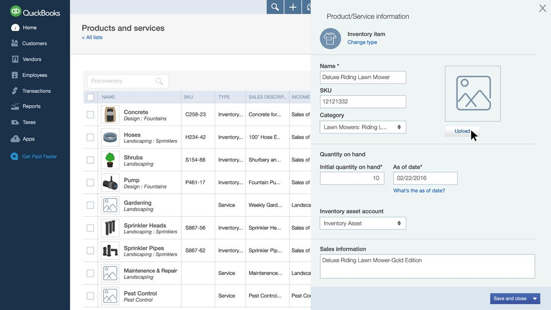 QuickBooks Online inventory management screen-shot