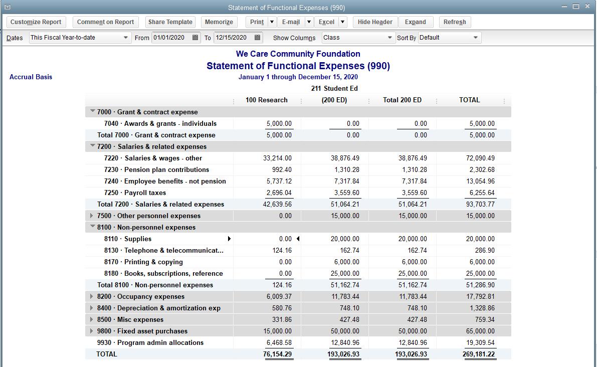 QuickBooks Premier Non-Profit Statement of Functional Expenses – Form 990 Screenshot