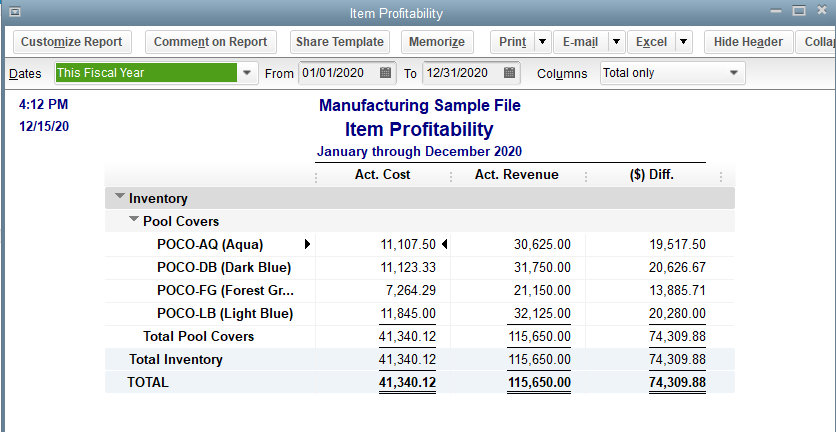 QuickBooks Premier Manufacturing and Wholesale Profitability by Product Report Screenshot