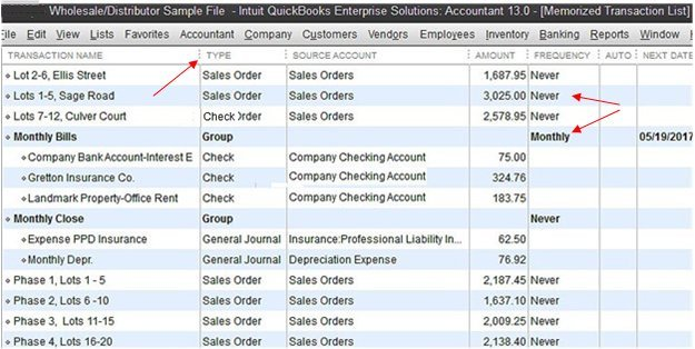 Transaction Window for QuickBooks memorized transactions